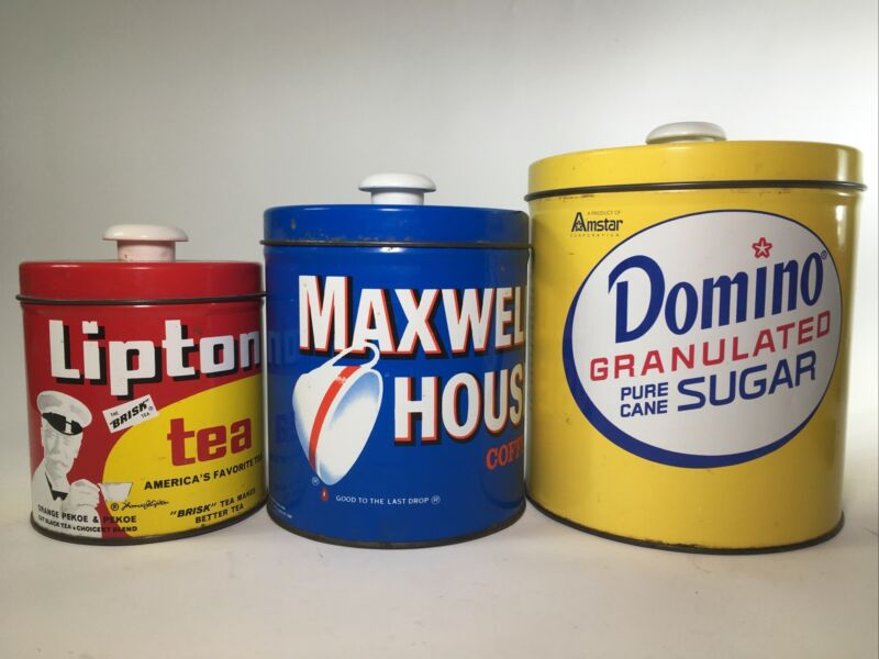 Domino Sugar Tin, Maxwell House Coffee Tin, Lipton Tea Tin