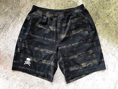 "Lululemon x Soulcycle Pace Breaker Shorts Large Camo Green Black Skull 9"" Liner"
