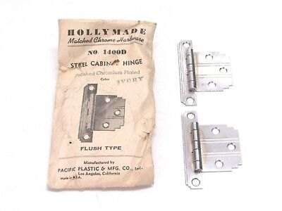 NOS! VINTAGE HOLLY MADE CHROME STEEL FLUSH HINGES, IVORY LINES, STEPPED CORNERS