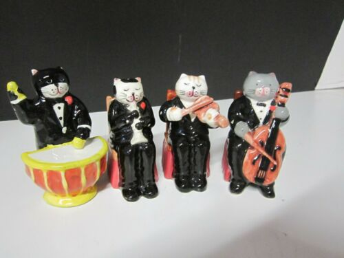 C.I. CAT ORCHESTRA/PLAYING INSTRUMENTS SALT AND PEPPER SHAKERS SET OF 4
