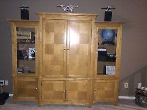 Maple Desk Armoire with glass bookshelves