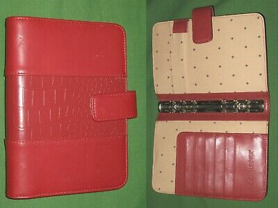 Compact 0.75 Red Faux Leather Day Runner Planner Binder Franklin Covey 7248