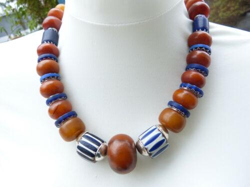 Antique Venetian 6 and 4 Layer Chevron beads African Amber phenolic resin neckl.