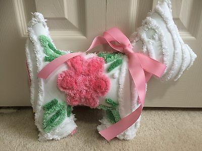 """Pink & Green Flower on White Dog Throw Pillow from Chenille Bedspread 12""""X 14"""""""