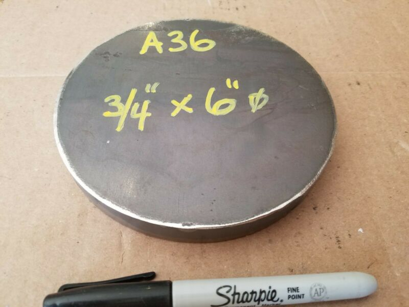 """Steel Plate Round Disc,  6"""" diameter x 3/4"""" thick, A36,   Lathe Stock"""