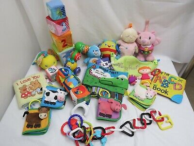 LOT OF BABY INFANT TOYS CLOTH BOOKS STROLLER LINKS FOR TOYS MUSICAL EDUCATIONAL