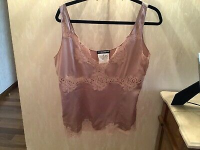 Dolce & Gabbana Beige Silk/Lace Sleeveless Blouse/Top Size 50/14