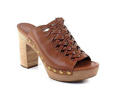 Michael Kors Westley Mule Acorn Brown Leather Studded & Woven Heel Shoe Size 8