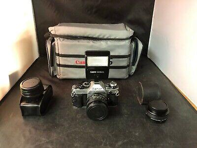 Canon AE-1 Program SLR Film Camera with 50mm f1.8Lens, Bag