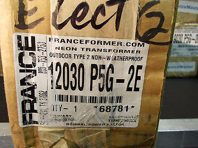 France Electric Sign Repair Part 12030 P5g-2e Outdoor Type2 Neon Transformer Nib