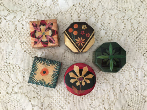 Small Vintage Bamboo Marquetry Flower Trinket Ring Box Lot of 5