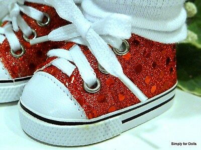 RED Sequin DOLL SNEAKERS Tennis SHOES fits 18