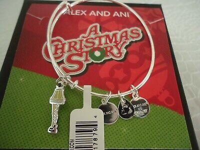 Alex and Ani A CHRISTMAS STORY FRAGEELAY Shiny Silver Bangle New W/Tag Card Box ()