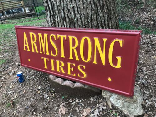 """""""ARMSTRONG TIRES"""" LARGE METAL ADVERTISING SIGN, (48""""x 18""""), NICE SIGN"""