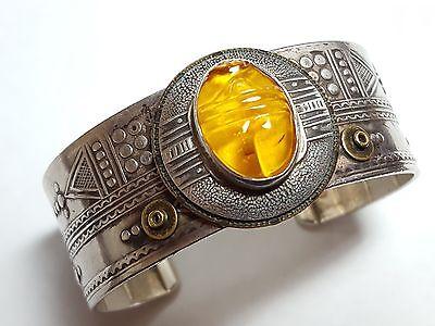 Vintage Egyptian Revival Sterling Silver Scarab Bracelet 3260
