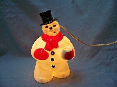 Vintage Christmas Hard Plastic Light-Up Cigar Smoking SNOWMAN Lamp