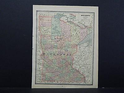 Vintage Map, 1885 George Cram, Single Sided Map #1 Minnesota