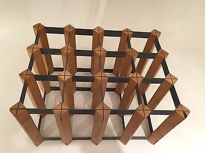 true vtg wow INDUSTRIAL WOOD AND STEEL WANDS WINE RACK - MADE IN ENGLAND