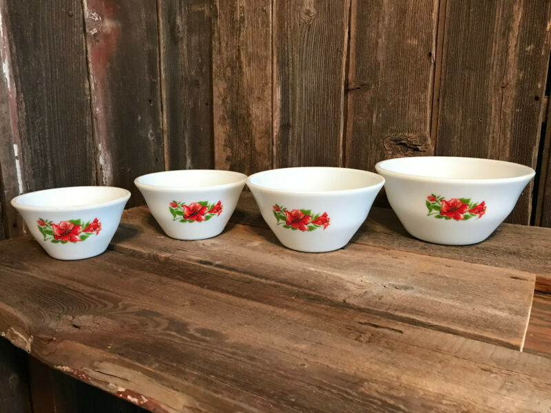 Set of 4 McKee Glass Red Amarrllis Hibiscus Floral Bell Bowls