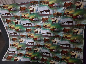BN horse print cotton material  panel Clontarf Redcliffe Area Preview