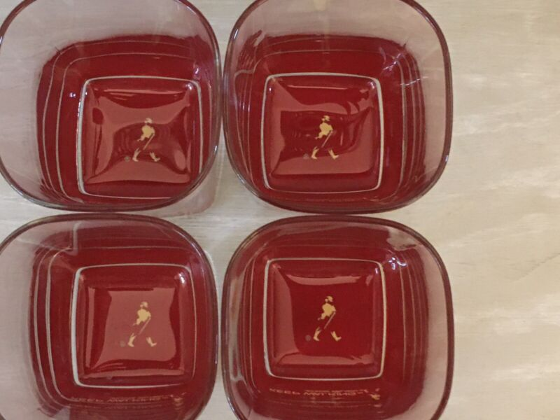 Johnnie Walker Red Scotch Whiskey Glass Lot of 4 Square Red Bottom Whiskey