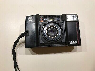 Minolta Voice Talker AF Auto Focus 35mm Film Point and Shoot Camera F2.8 Works