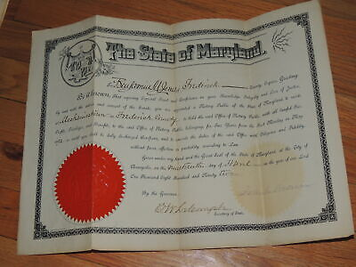 Maryland Notary Public Certificate Governor Signed Frank Brown