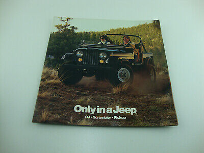 1985 Jeep CJ Scrambler & J-10 Pickup Sales Brochure Original W/ Color CHart Jeep J10 Pickup