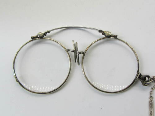Antique Folding Spectacles Eye Glasses  W/ Silver Chain Pince Nez Lorgnette