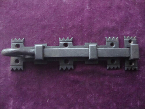 Antique gothic ecclesiastical robust iron security door bolt with keeper