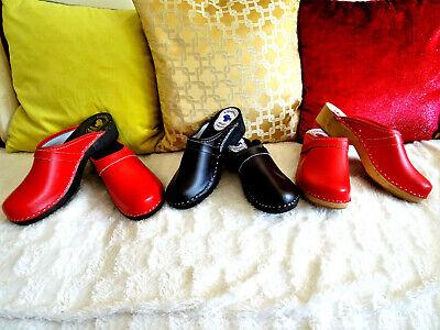 Braune Leder Clogs (Rot, Schokolade, Braun / Schwarze Sohle UNI CLOGS Schuhe Leder Schwedische Styl)