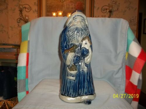 Rowe Pottery Santa With Bird & Bird House 2010