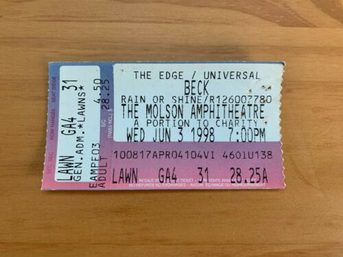 Beck Ticket Stub - June 3rd, 1998 - Molson Amphitheatre - Toronto, Ontario