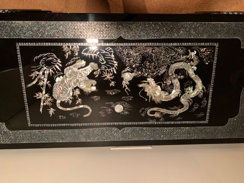 Korean Black Lacquer Mother Of Pearl Inlay Dragons Coffee Table
