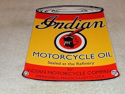 """VINTAGE """"INDIAN MOTORCYCLE MOTOR OIL CAN"""" 11"""" X 8"""" PORCELAIN METAL GASOLINE SIGN"""
