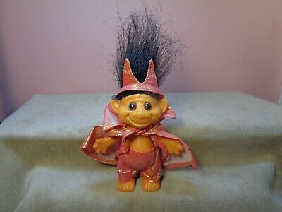 Vintage 1991 Acme Tan Troll Dressed as a Halloween Devil with Black Hair retro