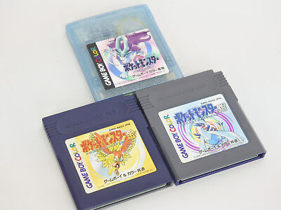 GAME BOY COLOR Lot of 3 POKEMON GOLD SILVER CRYSTAL SET Nintendo cartridge gbc