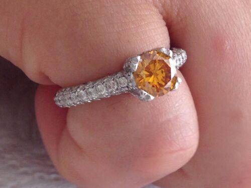 2.10ct Round Cut Designer Fancy Diamond Engagement Ring 14k Certified
