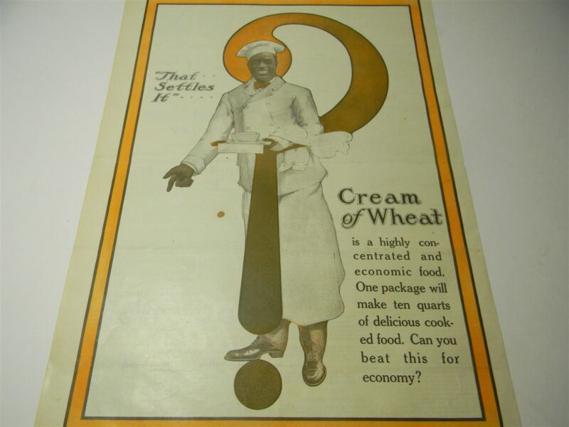 "Vintage 1918-1920 Cream of Wheat "" That Settles It "" Print Ad - 8E2"