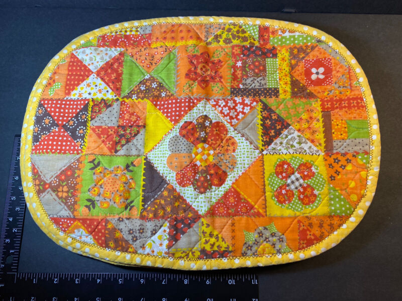 Vintage Set 6 Yellow Brown Green Orange Cotton Placemats 1970s