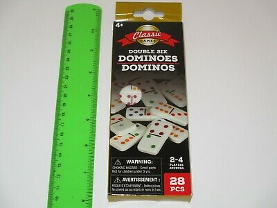 Dominoes Double Six Color Dot - 28 Dominoes w/ Game Instructions, Multi Players