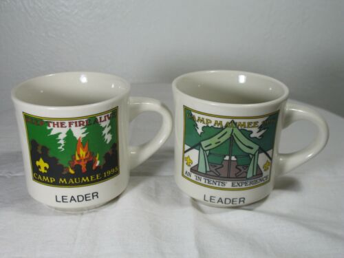 2 BSA Camp Maumee, Indiana Summer Camp Mugs 1995 1996 Two Leader Cups