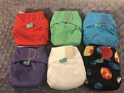 Lot Of 6 TotsBots Teeny Fit AIO Newborn Cloth Diapers