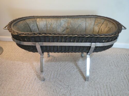 RARE Baby Cradle Carrier Basket Hospital Transport, Chrome Wicker 1940s Vintage