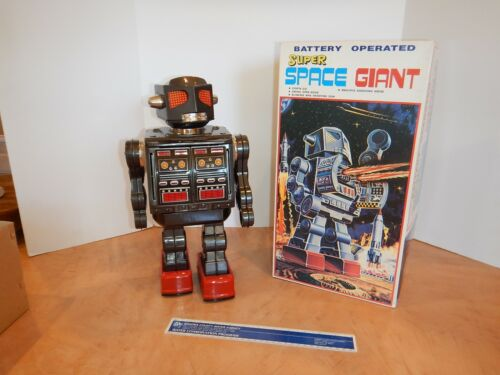 """METAL HOUSE BATTERY OPERATED SUPER SPACE GIANT ROBOT 16"""", ORIGINAL BOX, WORKS"""