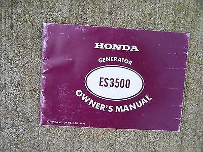 1979 Honda Es3500 Generator Owner Manual Components Maintenance Operation R