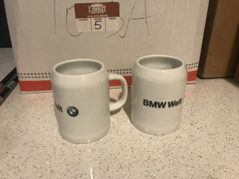 Lot Of 2 BMW WELT BEER MUG STEIN EUC