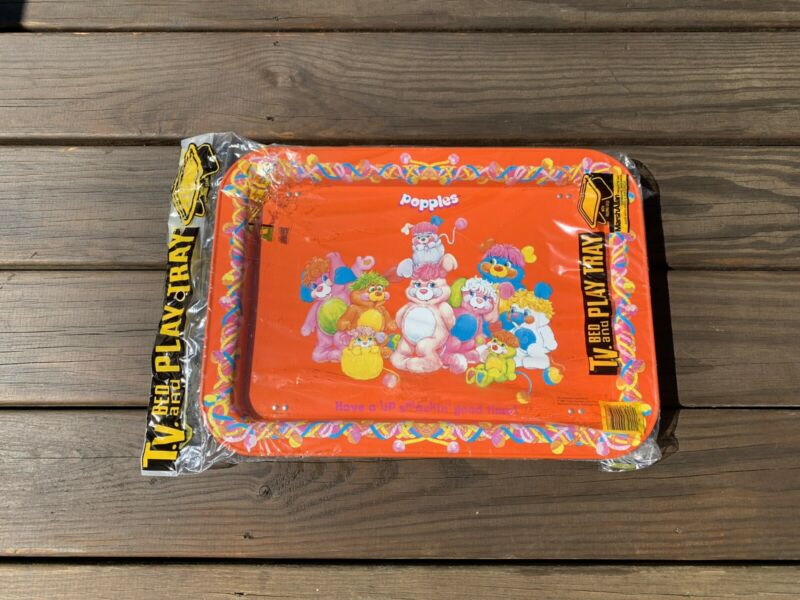 NOS Popples Marshallen TV BED PLAY TV TRAY Metal 1986 80's toys