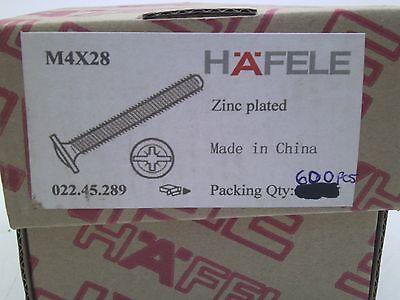 Box Of 600 Hafele 022.45.289 M4 X 28mm Long Modified Truss Head Screws Rl