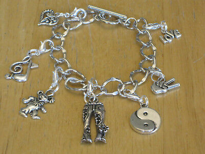 Silver-Tone Hippie/Flower Child/Woodstock/Hippy/60s Charm Bracelet Peace Sign+